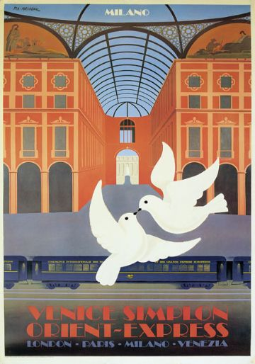 Venice Simplon Orient Express, Milano. VSOE Vintage Travel Poster by Pierre Fix-Masseau. 1982